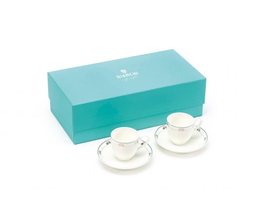 Bianchi Cafè & Cycles - Set 2 espresso cups and saucers