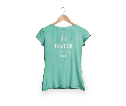 T-shirt bianchi Cafe'&cycle Dama w/strass Celeste