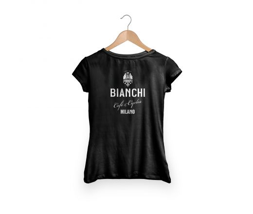 T-shirt bianchi Cafe'&cycle Dama w/strass Black